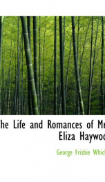 The Life and Romances of Mrs. Eliza Haywood_cover