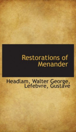 restorations of menander_cover