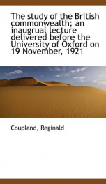 the study of the british commonwealth an inaugrual lecture delivered before the_cover