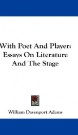 with poet and player essays on literature and the stage_cover