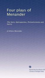 four plays of menander the hero epitrepontes periceiromene and samia_cover