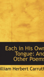 each in his own tongue and other poems_cover