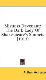 mistress davenant the dark lady of shakespeares sonnets_cover