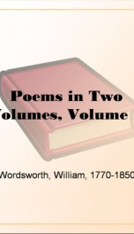Poems in Two Volumes, Volume 1_cover