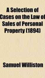 a selection of cases on the law of sales of personal property_cover
