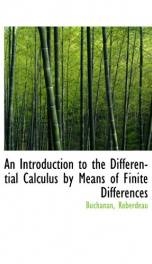 an introduction to the differential calculus by means of finite differences_cover