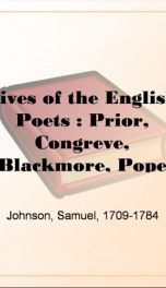 Lives of the English Poets : Prior, Congreve, Blackmore, Pope_cover