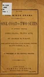 One coat for two suits, an entirely original comic drama, in two acts_cover