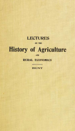 Lectures on the history of agriculture and rural economics_cover