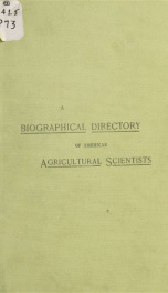 A biographical directory of American agricultural scientists_cover