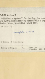 """""""Mabbett's system"""" for beating the races_cover"""