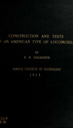 Details of construction with results of tests of an American type of locomobile (Buckeye Mobiel)_cover