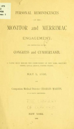 Personal reminiscences of the Monitor and Merrimac engagement, and destruction of the Congress and Cumberland. A paper read before the Commandery of New York, Military Order, Loyal Legion, United States, May 5, 1886_cover