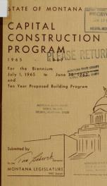 Capital construction program 1965-67_cover