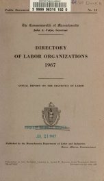 Directory of labor organizations in Massachusetts 1967_cover