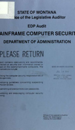 EDP audit, mainframe computer security, Department of Administration 1985_cover