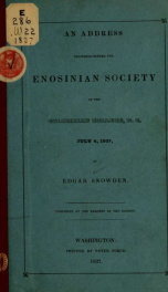 An address delivered before the Enosinian society of the Columbian college, D.C. July 4, 1837_cover