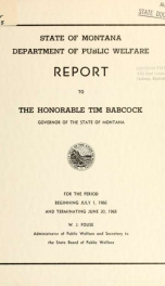 Report to the Honorable ... Governor of the State of Montana_cover