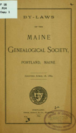 By-laws of the Maine genealogical society, Portland, Maine 2_cover