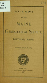 By-laws of the Maine genealogical society, Portland, Maine 1_cover