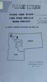 Work plan, Clark Fork River/Lake Pend Oreille basin project 1985_cover