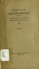A check list of incunabula [medical] in the Surgeon General's Library, Washington, D. C._cover