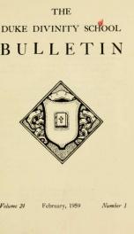 The Duke Divinity School bulletin [serial] 24(1-4), 1959-60_cover