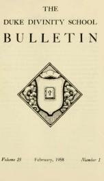 The Duke Divinity School bulletin [serial] 23(1-4), 1957-58_cover