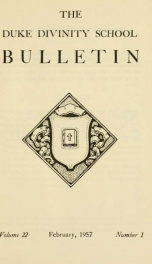 The Duke Divinity School bulletin [serial] 22(1-4), 1956-57_cover