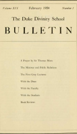 The Duke Divinity School bulletin [serial] 19(1-4), 1954_cover