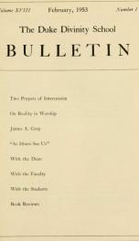The Duke Divinity School bulletin [serial] 18(1-4), 1953_cover