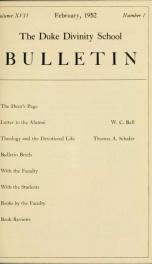 The Duke Divinity School bulletin [serial] 17(1-4), 1952_cover