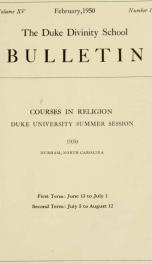 The Duke Divinity School bulletin [serial] 15(1-4), 1950_cover