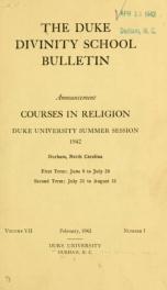 The Duke Divinity School bulletin [serial] 7(1-4), 1942-43_cover