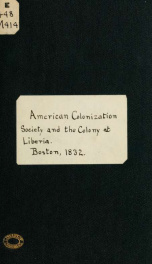 American colonization society and colony at Liberia_cover