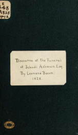 A discourse preached in the Center Church, in New Haven, August 27, 1828 at the funeral of Jehudi Ashmun, Esq. : colonial agent of the American colony of Liberia 1_cover