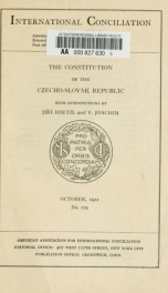 The Constitution of the Czecho-Slovak Republic_cover
