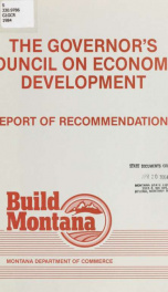 The Governor's Council on Economic Development : report of recommendations 1984_cover