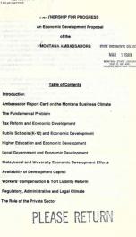 Partnership for progress : an economic development proposal of the Montana Ambassadors 1988?_cover
