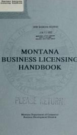 Montana business licensing handbook 1992-_cover