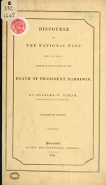 Discourse on the national fast (May 14, 1841,) : observed on occasion of the death of President Harrison_cover