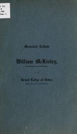 Memorial tribute to William McKinley .. 2_cover