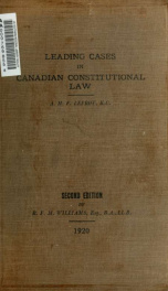 Leading cases in Canadian constitutional law_cover