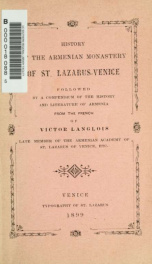History of the Armenian monastery of St. Lazarus-Venice, followed by a compendium of the history and literature of Armenia_cover