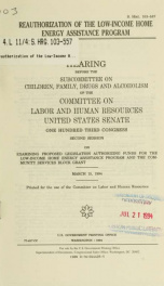 Reauthorization of the Low-Income Home Energy Assistance Program : hearing before the Subcommittee on Children, Family, Drugs and Alcoholism of the Committee on Labor and Human Resources, United States Senate, One Hundred Third Congress, second session .._cover
