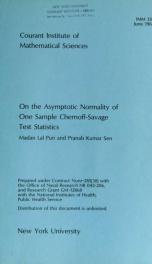 On the asymptotic normality of one sample Chernoff-Savage test statistics_cover