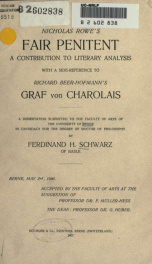 Nicholas Rowe's Fair penitent : a contribution to literary analysis with ... reference to Richard Beer-Hofmann's Graf von Charolais_cover