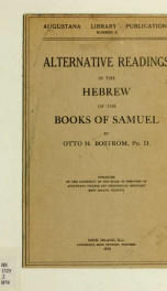 Alternative readings in the Hebrew of the books of Samuel_cover