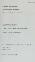 Classical diffusion: theory and simulation codes_cover