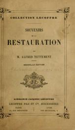 Souvenirs de la restauration_cover